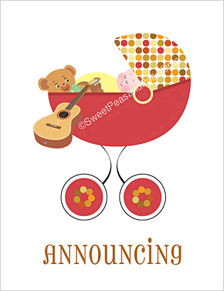 Acoustic Guitar Birth Announcements