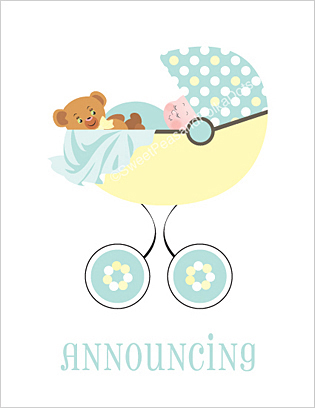 Birth Announcements, Pastel Birth Announcements, Baby ...