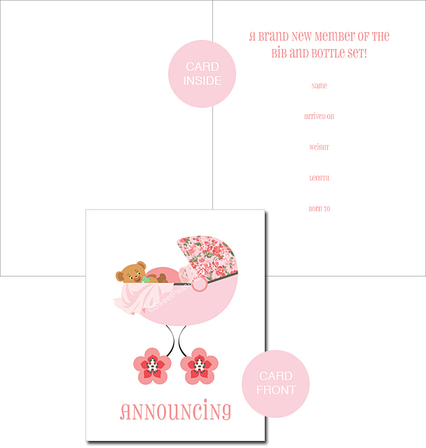 Pink Posy Classic Birth Announcements