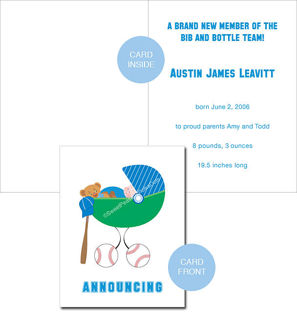 Baseball Custom Birth Announcements