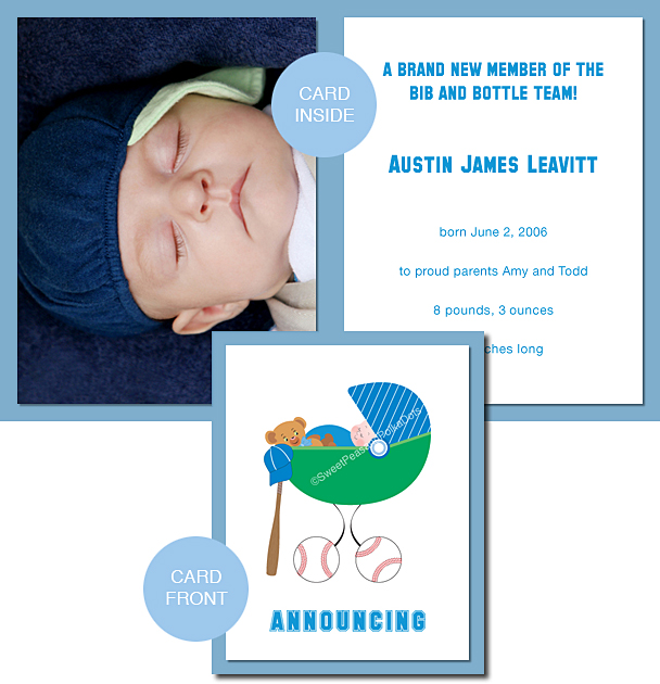 Baseball Photo Birth Announcements