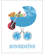 Electric Guitar Photo Birth Announcements