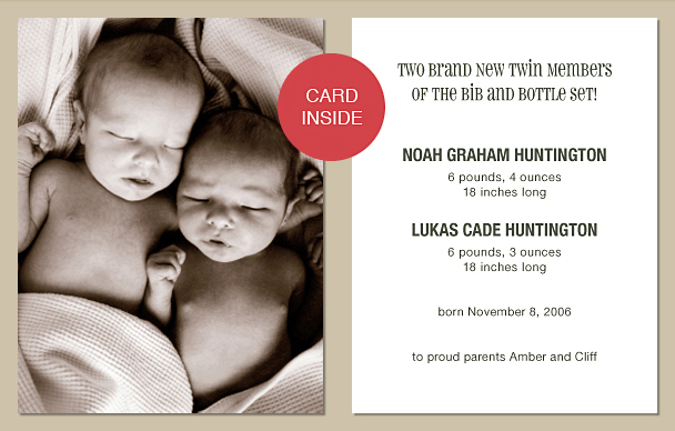 Twin Birth Announcements Twin Baby Announcements Twin Photo – Birth Announcement for Twins