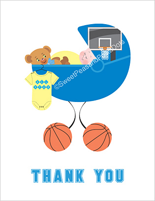 Basketball Baby Thank You Cards