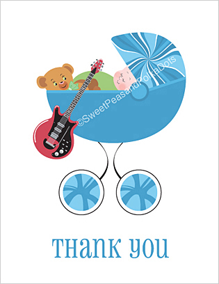 Electric Guitar Baby Thank You Cards
