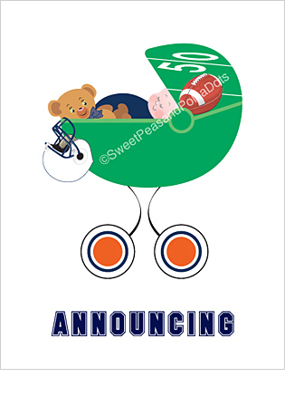 Navy Blue and Orange Football Classic Birth Announcements