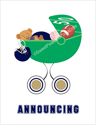 Navy Blue and Gold Football Custom Birth Announcements