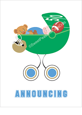 Light Blue and Gold Football Photo Birth Announcements