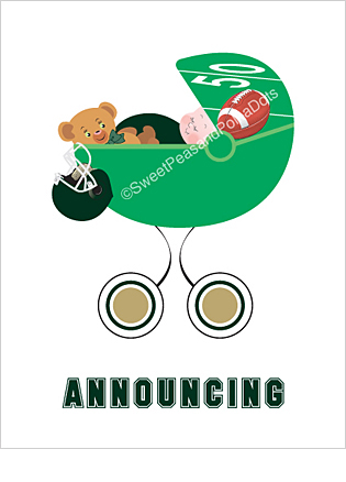 Dark Green and Gold Football Classic Birth Announcements
