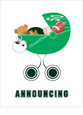 Dark Green and White Football Custom Birth Announcements