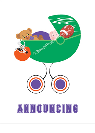 Purple and Orange Football Classic Birth Announcements
