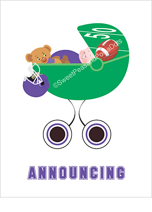 Purple and Black Football Photo Birth Announcements