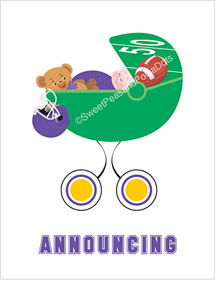 Purple and Gold Football Photo Birth Announcements