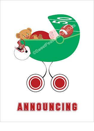 Red and White Football Custom Birth Announcements