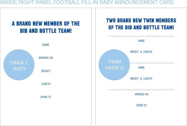Inside Right Panel Blue and Orange Football Classic Baby Announcements