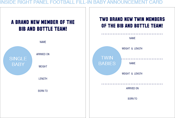 Inside Right Panel Navy Blue and Gold Football Classic Baby Announcements