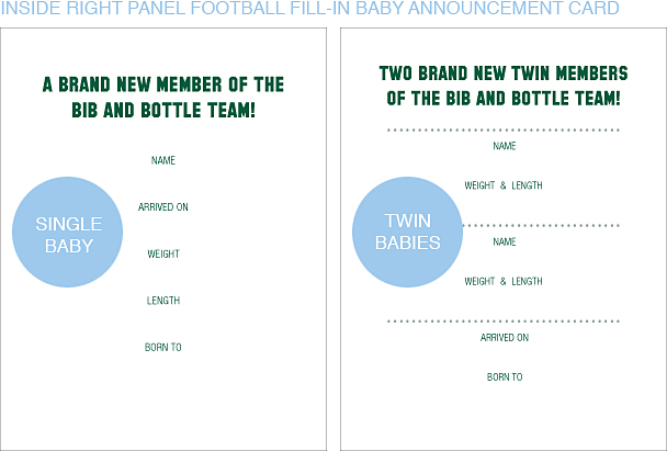 Inside Right Panel Dark Green and White Football Classic Baby Announcements