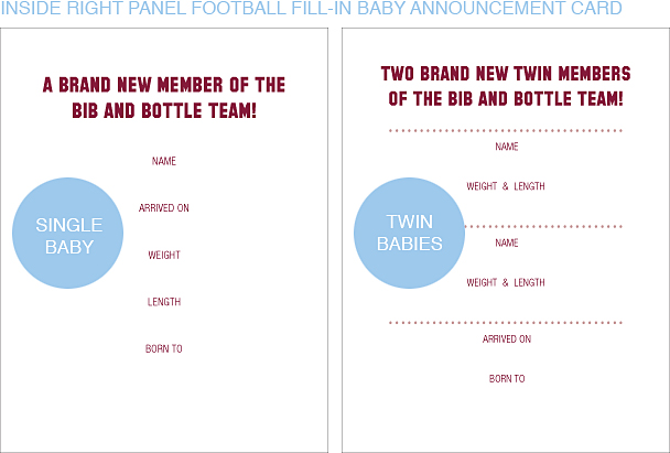 Inside Right Panel Maroon Red and White Football Classic Baby Announcements