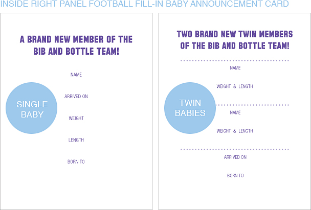 Inside Right Panel Purple and Orange Football Classic Baby Announcements