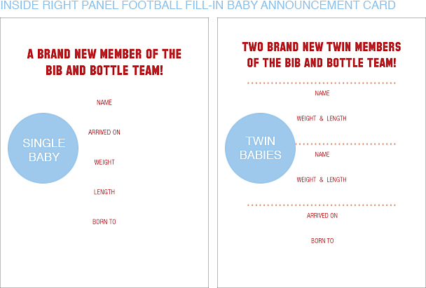 Inside Right Panel Red and Navy Blue Football Classic Baby Announcements