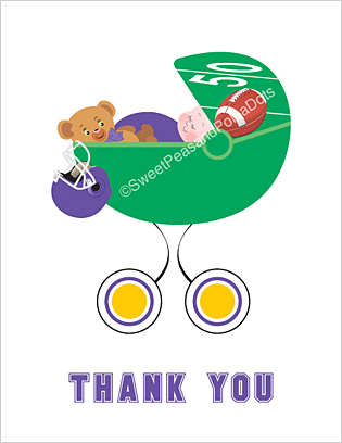 Purple and Gold Football Baby Thank You Cards