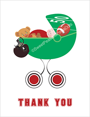 Red and Black Football Baby Thank You Cards
