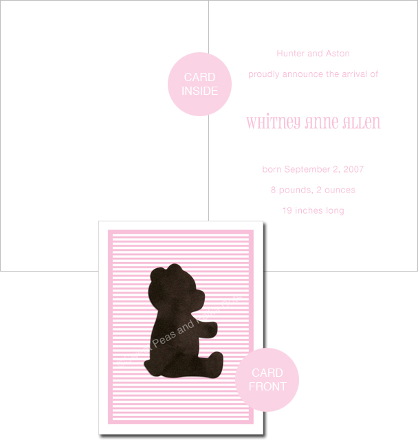 Pink LUX Bear Custom Birth Announcements