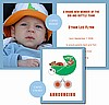 Dark Orange and White Football Photo Birth Announcements