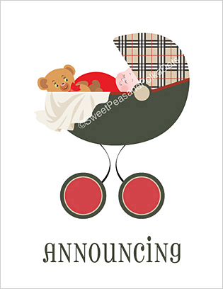 Pemberley Park Plaid Birth Announcements