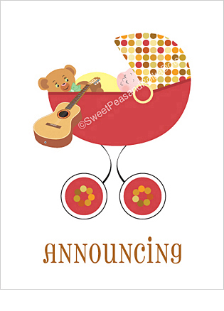 Acoustic Guitar Custom Birth Announcements