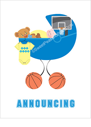 Basketball Photo Birth Announcements