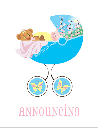 Butterfly Custom Birth Announcements