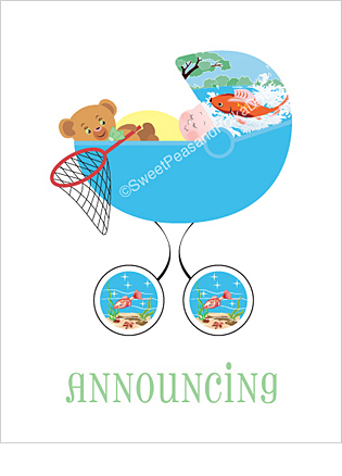 Fishing Photo Birth Announcements