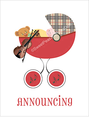 Violin Classic Birth Announcements