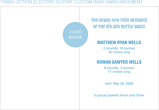 Electric Guitar Custom Birth Announcements