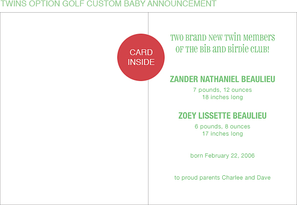 Golf Custom Birth Announcements