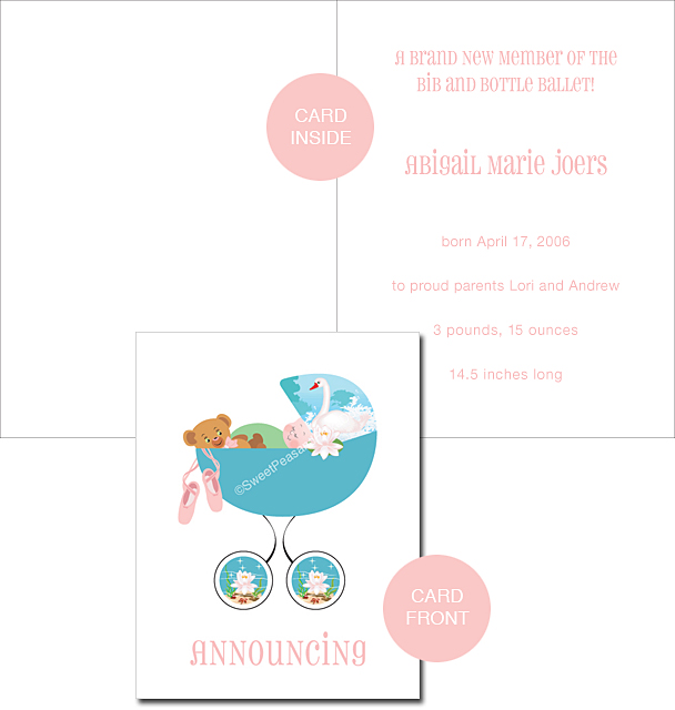 Ballet Custom Birth Announcements