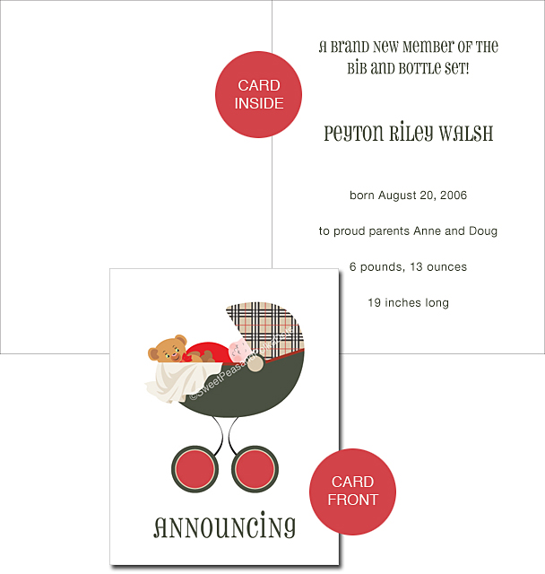 Pemberley Park Plaid Custom Birth Announcements