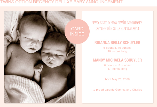 Regency Photo Birth Announcements