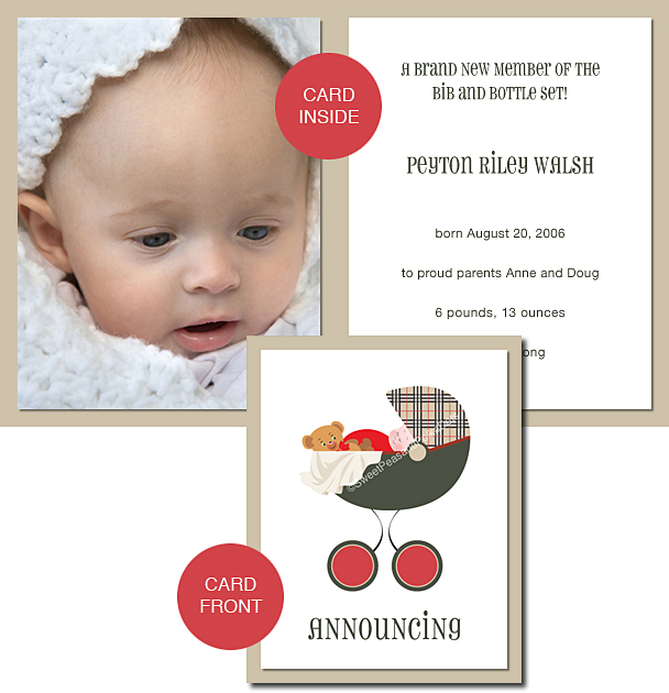 Pemberley Park Plaid Photo Birth Announcements