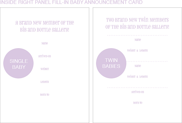 Inside Right Panel Artist Classic Birth Announcements