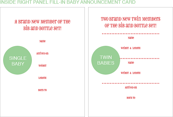 Inside Right Panel Lakeshore Classic Birth Announcements