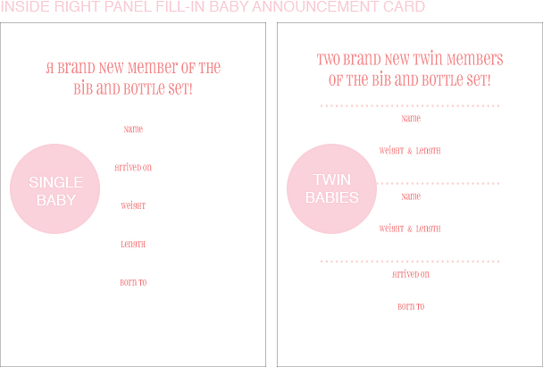 Inside Right Panel Pink Posy Classic Birth Announcements