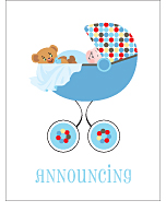 Blue Polka Dot Photo Birth Announcements