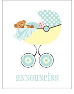 Pastel Polka Dot Photo Birth Announcements
