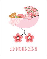 Pink Posy Photo Birth Announcements