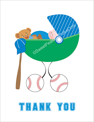 Baseball Baby Thank You Cards