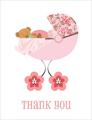 Pink Posy Baby Thank You Cards