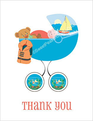 Sailing Baby Thank You Cards