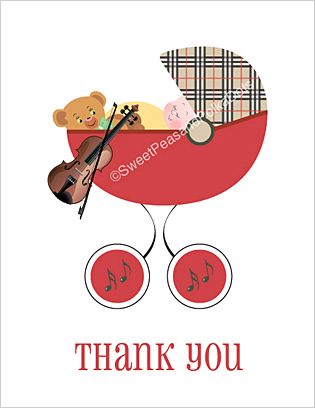 Violin Baby Thank You Cards